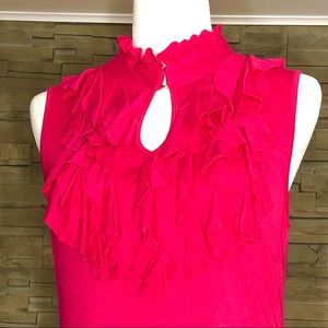 Papillon sleeveless fuchsia ruffle top